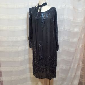 Vintage sheer beaded dress w/matching neck scarf